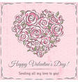 valentine card with heart of flowers and wishes te vector image