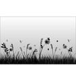 with butterflies in grass silhouette vector image