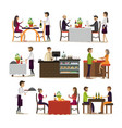 set of pub and restaurant people icons vector image