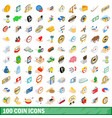 100 coin icons set isometric 3d style vector image