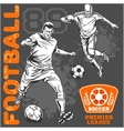 Soccer and football players plus emblems for sport vector image vector image