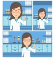Laboratory assistant with syringe in lab vector image