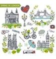 London landmarkSpring green leaves wreath group vector image