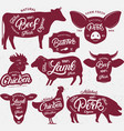 set of butchery logo label emblem poster vector image