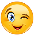 Winking face emoticon vector image
