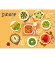 Dinner icon with dishes of italian german cuisine vector image