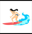 surfer woman on surfboard vector image vector image