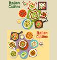 italian cuisine pasta dishes icon set design vector image