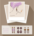 Beautiful woman wearing earrings Mock up with vector image