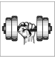 Heavy dumbbell in hand isolated vector image vector image