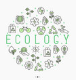 ecology concept in circle with thin line icons vector image