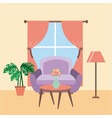 living room interior a sofa table flower pot plant vector image