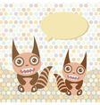 Polka dot background pattern Funny cute monsters vector image