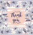 wedding card thank you lettering floral frame vector image