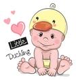 Cute Cartoon Baby boy in a Duckling hat vector image vector image