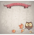 background with owl and autumn leaves vector image
