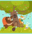 cute animals harvesting cherries vector image