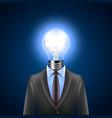 Lamp-head businessman idea concept vector image
