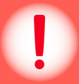 red warning exclamation mark on a red background vector image