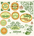 retro style labels and floral design elements vector image