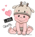 Cute Cartoon Baby boy in a Giraffe hat vector image vector image
