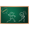 A board with a sketch of two baseball players vector image vector image
