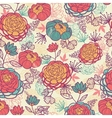 Peony flowers and leaves seamless pattern vector image