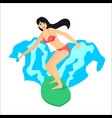 surfer woman riding on surfboard vector image