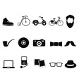 black hipster icons set vector image