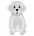 Cute white dog cartoon vector image