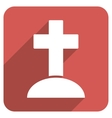 Grave Flat Rounded Square Icon with Long Shadow vector image