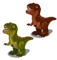 green and brown dinosaur in cartoon style vector image