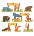 Wild Animals Behind The Fence In Zoo Set vector image