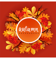 Autumn border with oak and chestnut leaves rowans vector image