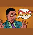 omg black man businessman pop art style vector image