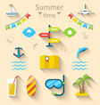 Flat colorful set icons of travel on holiday vector image vector image
