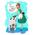 Woman preparing food vintage vector image