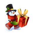 smiling snowman with gift vector image vector image