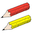 red and yellow pancils vector image