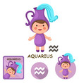 aquarius collection zodiac signs vector image
