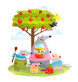 bear family mother with kids eating apple jam vector image