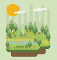 hiking and camping summer landscapes flat design vector image