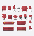 Icon set of home and office furniture interior vector image