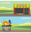 Shopping basket full of healthy organic banner set vector image