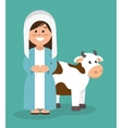 Cute virgin mary and cow vector image