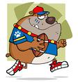 Brown Bull Dog Football Player Running vector image vector image