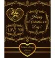 set of valentine design elements golden vector image vector image