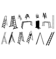 set of ladder silhouette vector image vector image