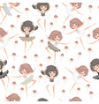 seamless pattern with young dancing girls on a whi vector image