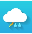 Day cloud lightning and double rain drops isolated vector image